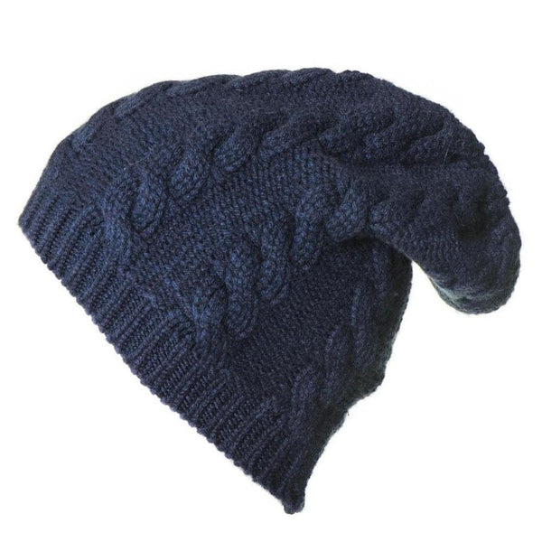 Navy Cable Knit Cashmere Slouch Beanie