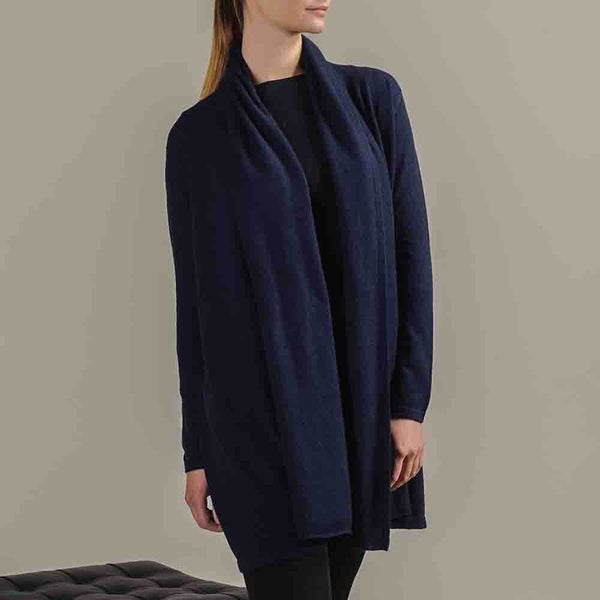 Midnight Navy Longline Cashmere Cardigan