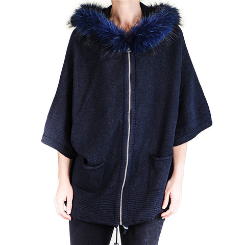 Midnight Navy Hooded Coatigan with Fur Trim