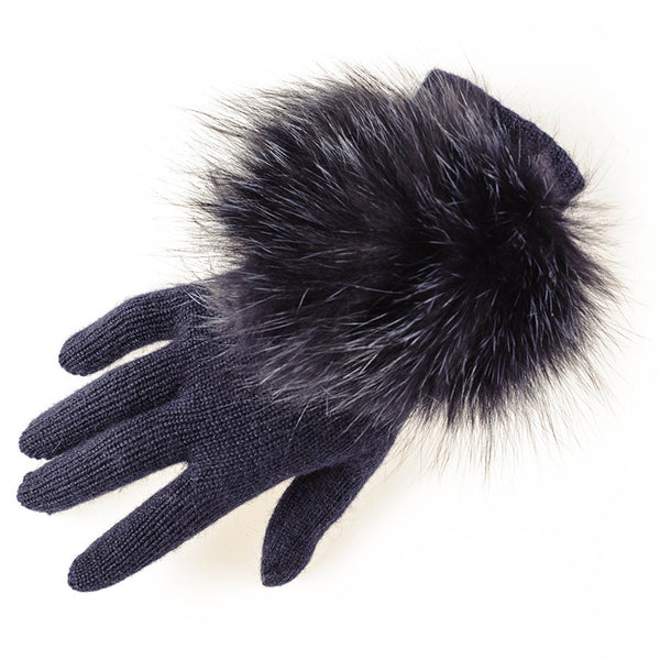 Navy Cashmere and Fox Fur Gloves