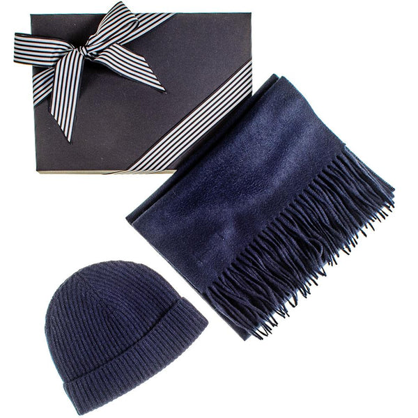 Navy Cashmere Scarf and Cashmere Beanie Gift Set