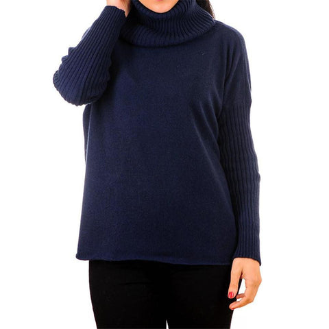 Navy Cashmere Sleeved Poncho Sweater with Snood