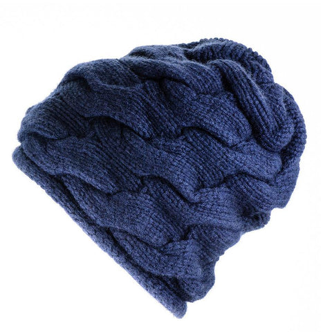 Navy Chunky Cable Knit Cashmere  Beanie