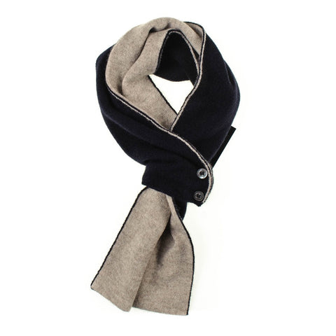 Navy and Latte Cashmere Cravat Scarf