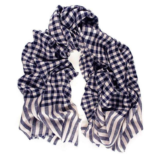 Navy and Ivory Gingham Cashmere Ring Shawl