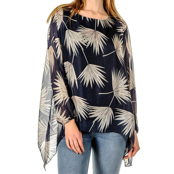 Alessia - Navy Floral Print Silk Top