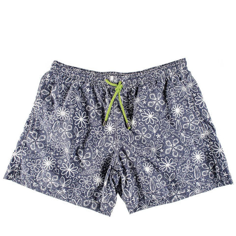 Navy and White Floral Print Italian Mid-Length Swim Shorts