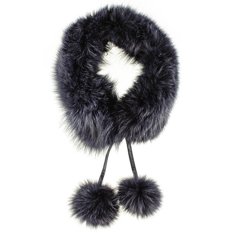 Midnight Navy Fur Collar with Pom Poms