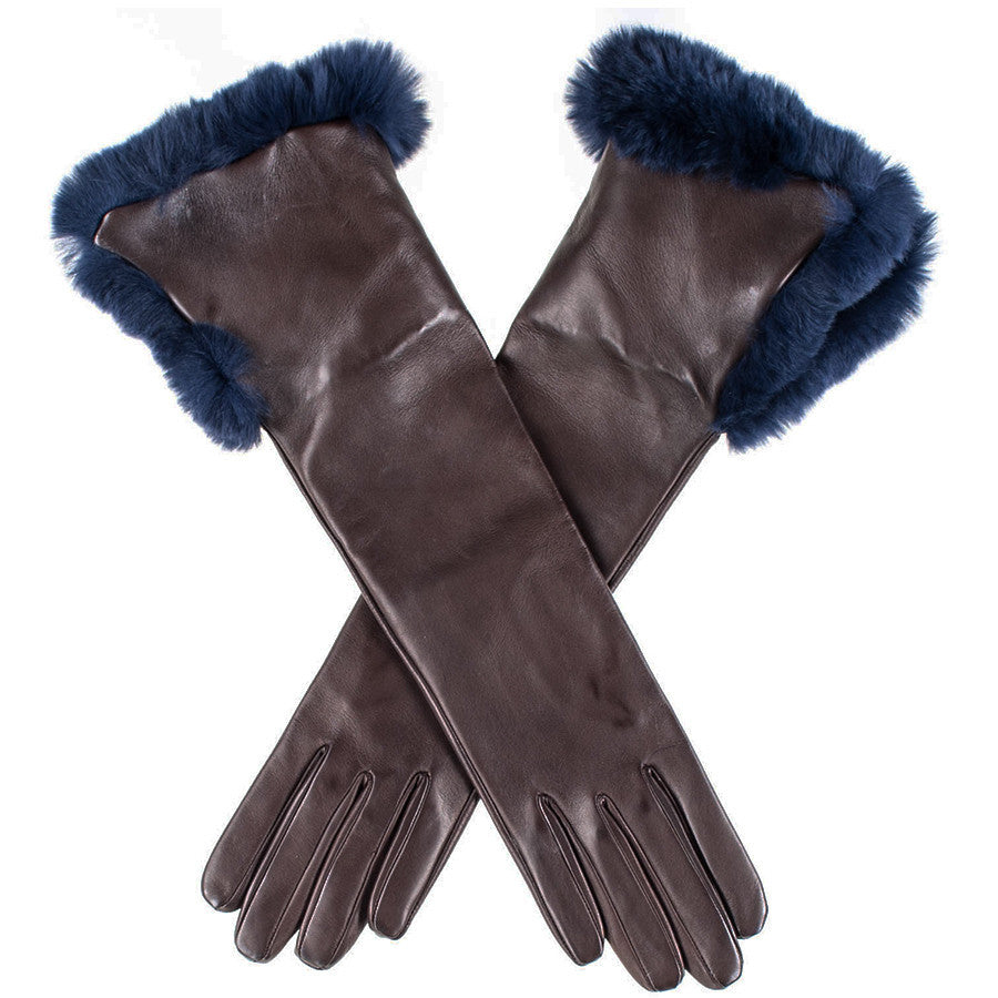 Ladies leather gloves navy - Chocolate Brown Musketeer Leather Gloves With Navy Fur Cuff