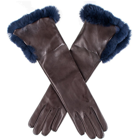Chocolate Brown Musketeer Leather Gloves with Navy Fur Cuff