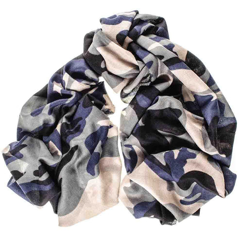 Camouflage Print Merino Wool and Silk Scarf