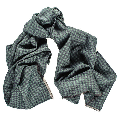 Arvo Italian Silk and Wool Houndstooth Scarf
