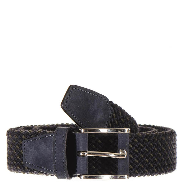 Military Green and Navy Nubuck Trimmed Woven Belt
