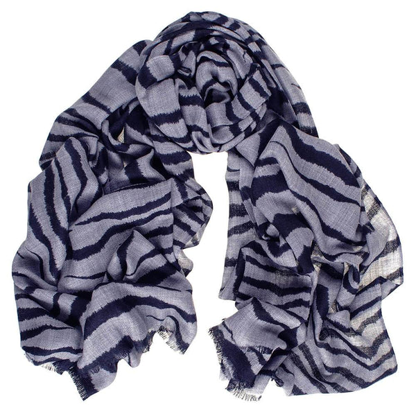 Navy and Grey Zebra Print Silk and Wool Scarf