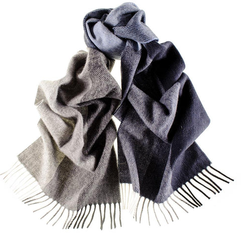 Multi Tone Blue and Grey Italian Wool Scarf