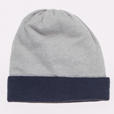 Navy and Grey Chevron Cashmere Beanie Hat