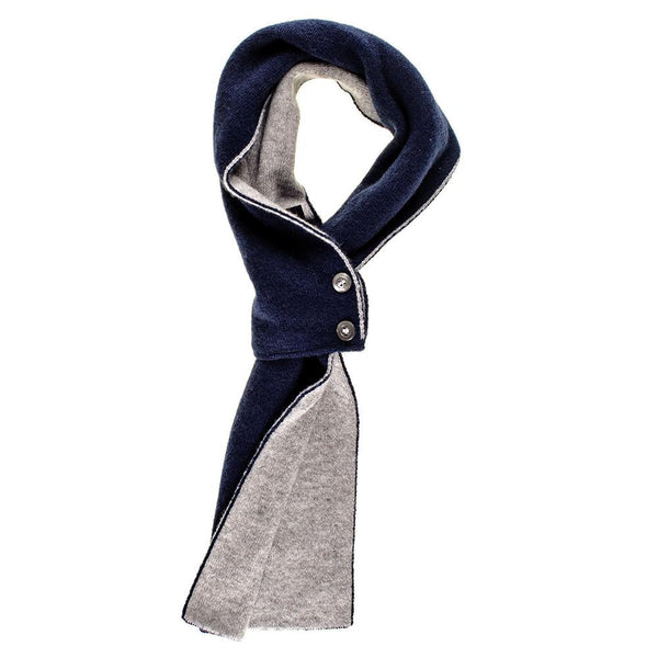 Navy and Grey Cashmere Cravat Scarf