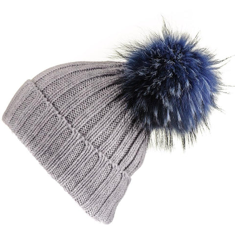Grey Cashmere Beanie with Navy Fur Pom Pom