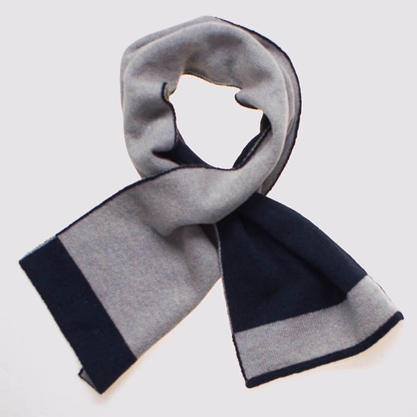 Marine and Latte Skinny Cashmere Neck Warmer