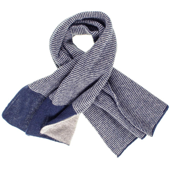 Grey and Navy Double Faced Cashmere Cravat Scarf