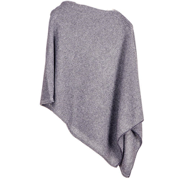 Navy and Grey Cashmere Poncho