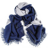 Navy and Grey Double Faced Cashmere Scarf