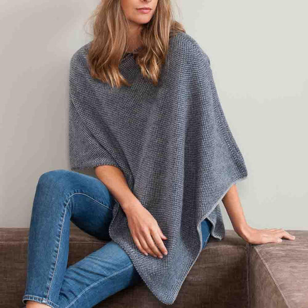 Navy and Grey Knitted Cashmere Poncho