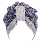 Grey and Navy Chevron Cashmere Turban