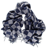 Oversize Navy and Grey Chequerboard Cashmere Scarf