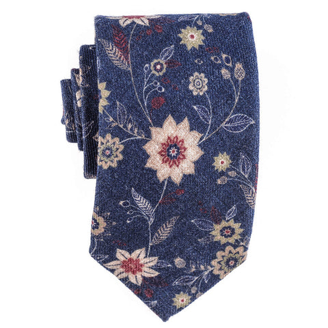 Gradara Navy and Claret Merino Wool Tie
