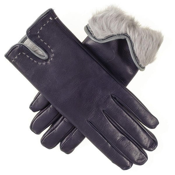 Navy and Grey Rabbit Fur Lined Leather Gloves