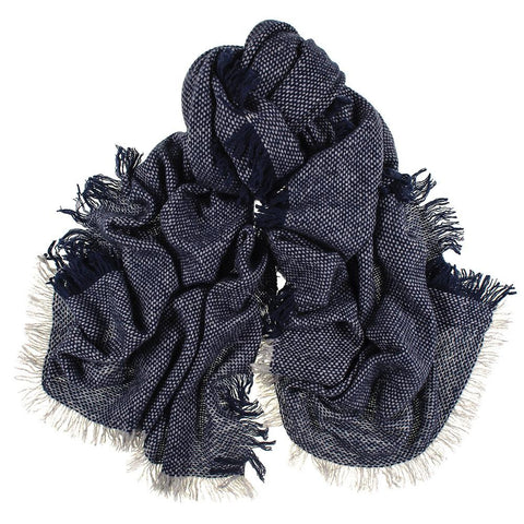 Navy and Grey Antique Loom Cashmere Scarf