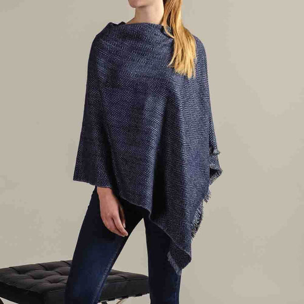 Hand Woven Navy and Grey Herringbone Cashmere Poncho