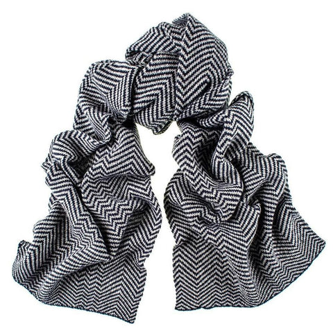 Navy and Grey Herringbone Cashmere Scarf