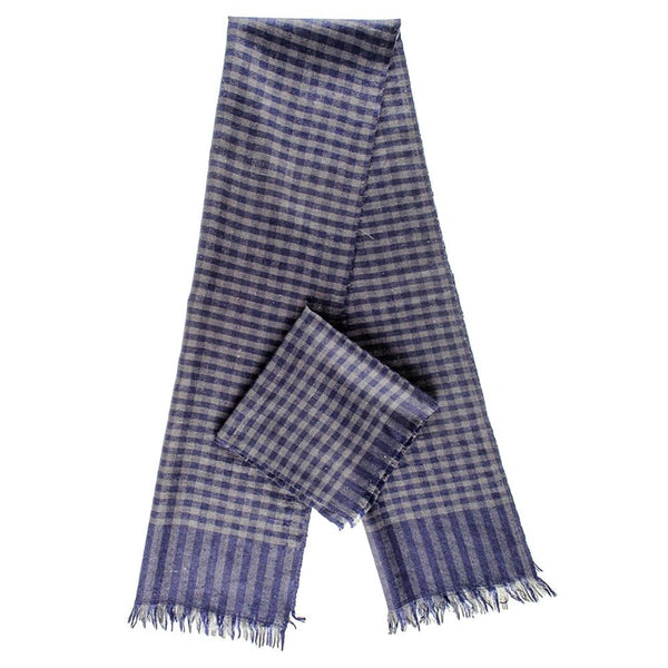 Navy and Grey Check Superfine Cashmere Cravat Scarf Set