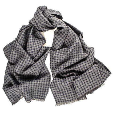 Viverone Italian Silk and Wool Houndstooth Scarf