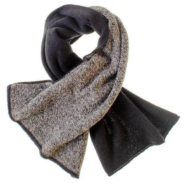 Black and Grey Melange Double Faced Cashmere Neck Warmer