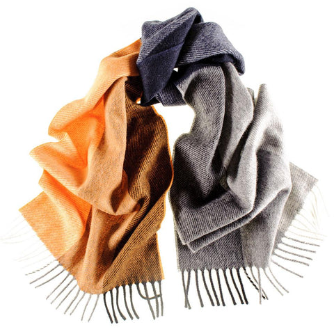 Vico Grey and Orange Colour Block Italian Wool Scarf