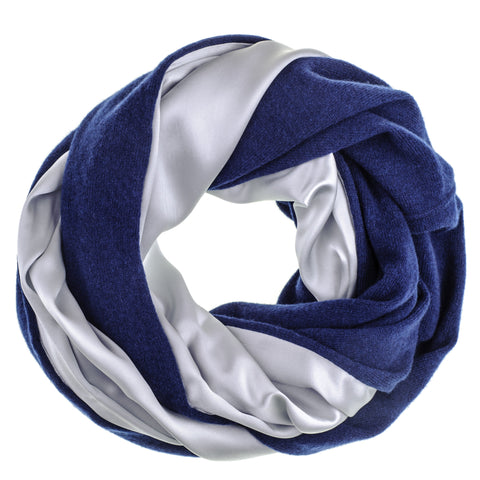 Double Size Silver Silk and Navy Cashmere Snood
