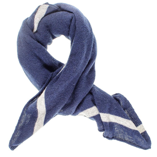 Navy and Grey  Cashmere Square Scarf