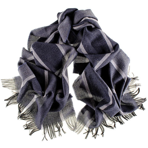 Albana Navy and Grey Italian Wool Scarf