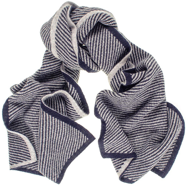 Marine Navy and Grey Diagonal Stripe Cashmere Scarf