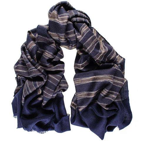 Navy and Brown Ikat Cashmere Ring Shawl