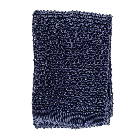 Navy Blue Italian Knitted Silk Tie