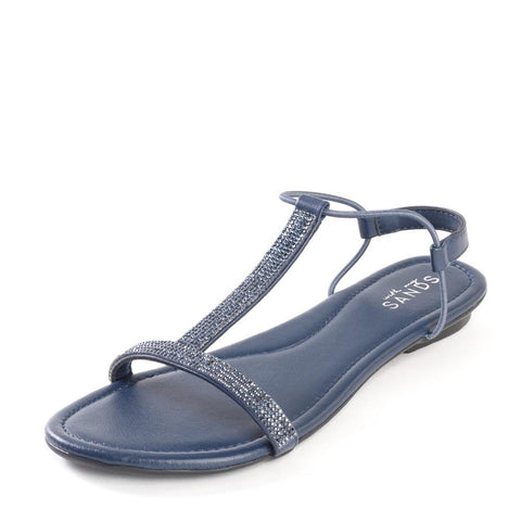 Midnight Blue Crystal Embellished Leather Sandals