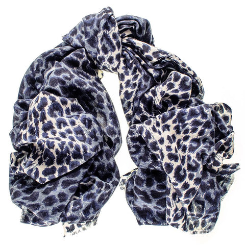 Navy Leopard Print Silk and Merino Wool Scarf