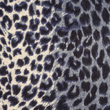 Navy Leopard Print Scarf - Silk and Wool