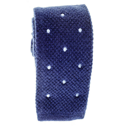 Navy Blue Polka Dot Knitted Cashmere Tie