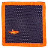 The 'Caught Fish' Italian Silk Pocket Square