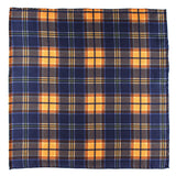 Atrani Navy Check Silk Pocket Square